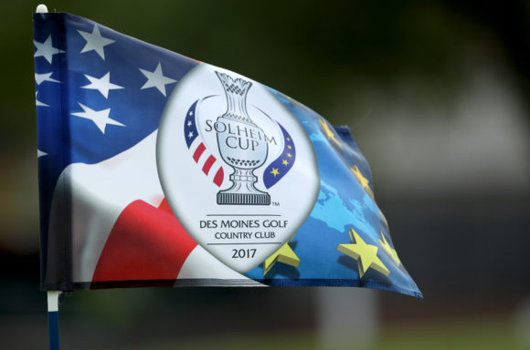 Lexi Thompson drives green on par-4 No. 1 during Solheim Cup